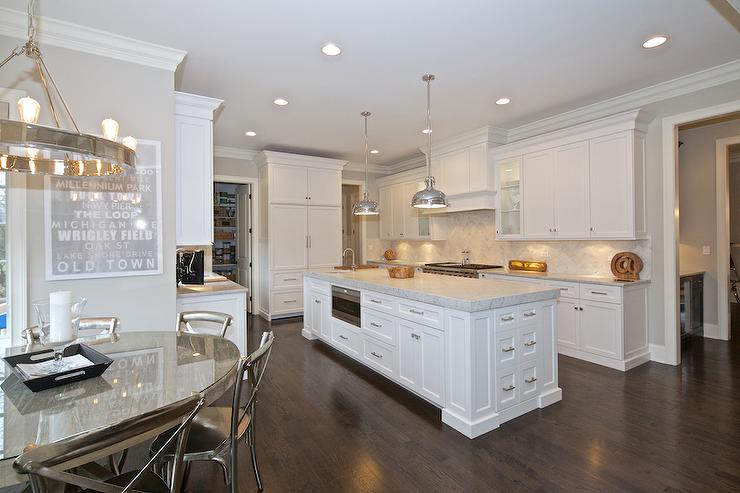 Kitchen Island With Sink And Dishwasher Long Center Island With Microwave - Transitional - Kitchen