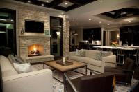 Stone Fireplace Wall with Flatscreen TV Niche ...