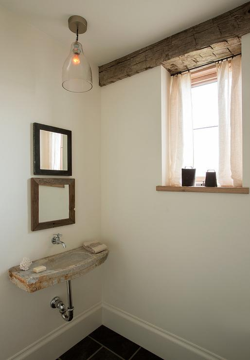 Industrial Vanity Rustic Powder Room With Concrete Wall Mount Sink And