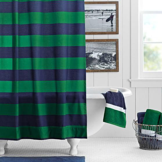 Blue and Green Rugby Stripe Shower Curtain