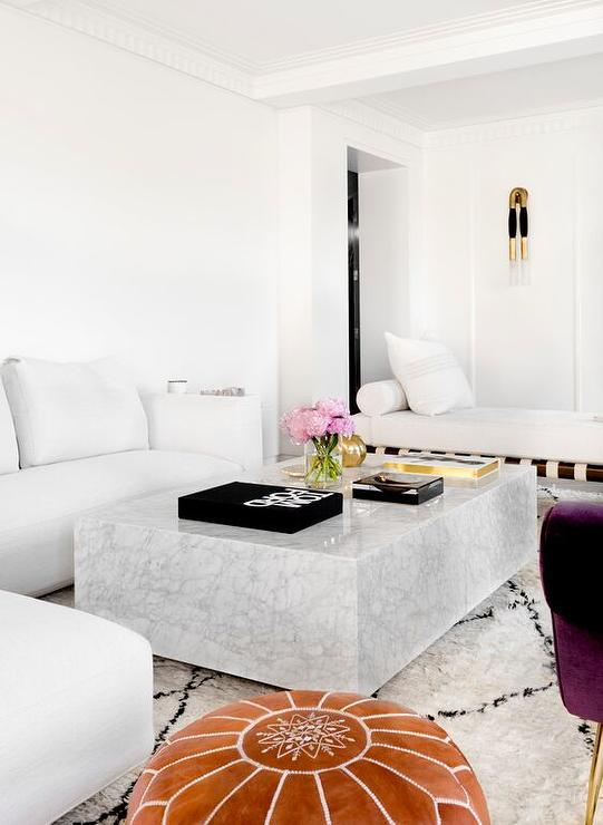 White Modern Sectional with Marble Block Cocktail table - white sectional living room