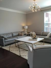 Gray Living Room walls with Gray Leather Sofas ...