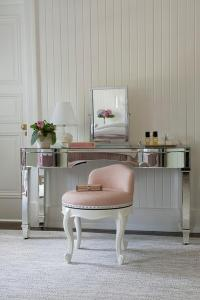 Mirrored Vanity with Pink Stool - Transitional - Bedroom