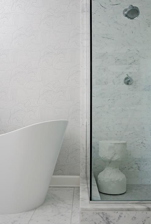 Black White Square Wallpaper Tub Next To Shower Design Ideas