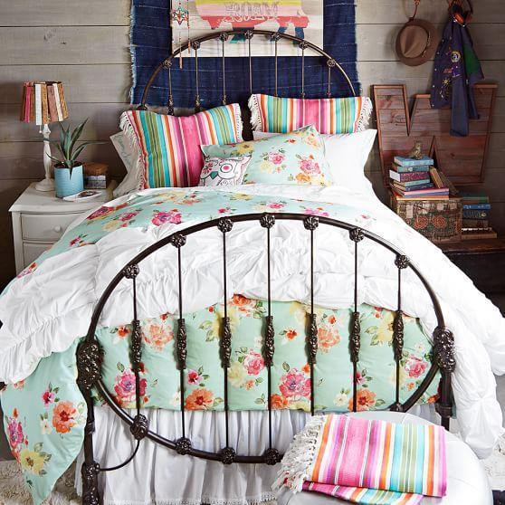 Wallpaper Teenage Girl Bedroom Junk Gypsy Rodeo Vintage Bronze Iron Bed