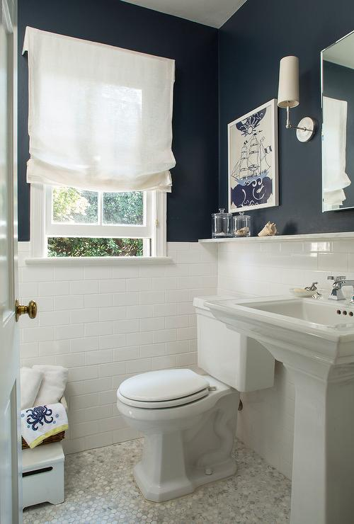 Modern White Wall Shelf Navy Bathroom Walls With White Subway Tiles - Cottage