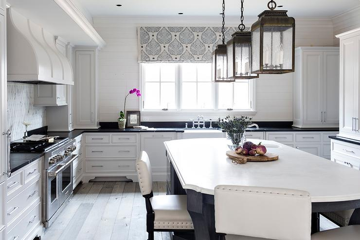 Kitchen Islands With Storage And Seating Black Curved Kitchen Island With White Marble Countertop