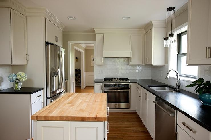 Kitchen Island With Stove And Oven Ivory Kitchen Island With Butcher Block Top - Transitional