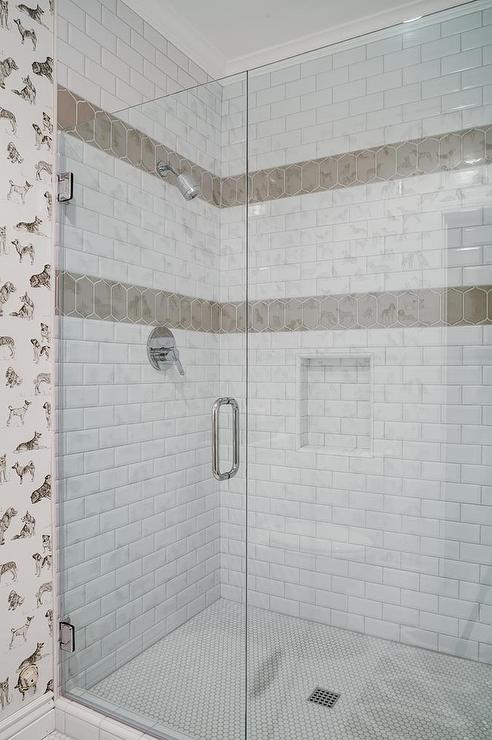 Black Grey Cream Stripe Wallpaper White Shower Tiles With Taupe Border Accent Tiles