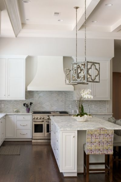 Island Tables For Kitchen With Stools Gray Quatrefoil Pendant Lights - Transitional - Kitchen