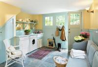 Turquoise Blue Mudroom with Beadboard Trim