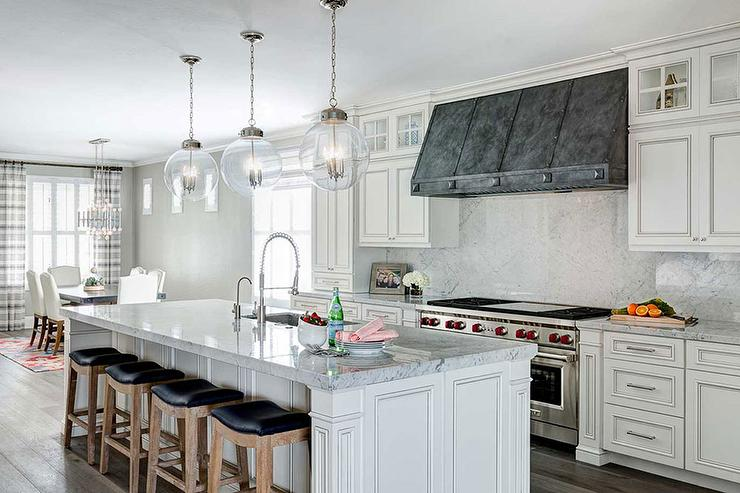 Island Tables For Kitchen With Stools French White Kitchen Cabinets With Zinc Hood