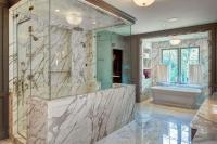 Marble Shower with Two Doors - Contemporary - Bathroom