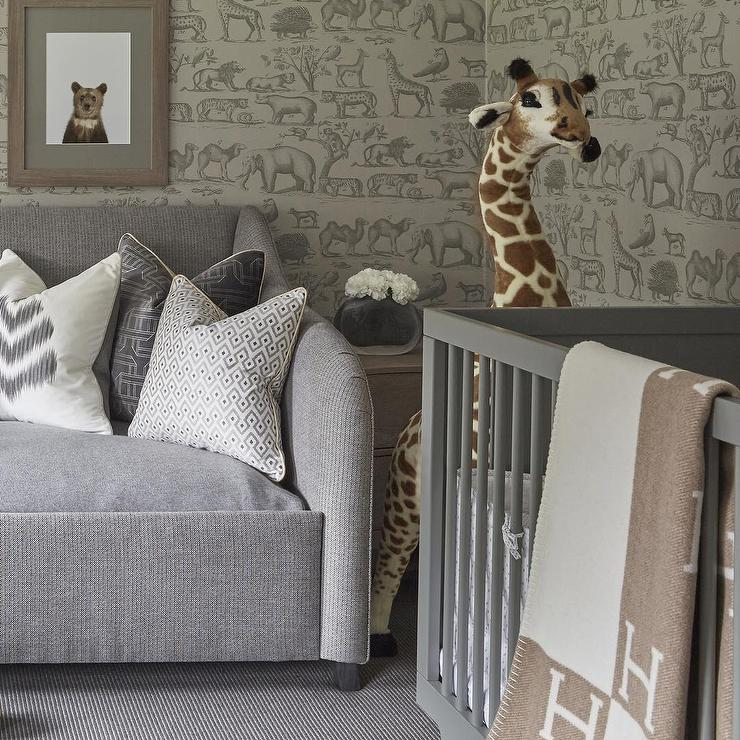 Animal Print Wallpaper For Walls Nursery With Gray Ark Wallpaper Transitional Nursery