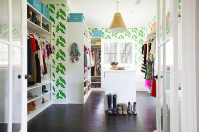 Walk In Closet with Leaves Wallpaper - Contemporary - Closet
