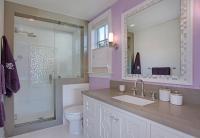 Purple Girls Bathroom with Mosaic Tile Mirror ...