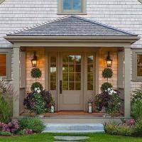 White House Gray Front Door Design Ideas
