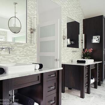 Gray Powder Room with Grey Grasscloth - Transitional - Bathroom