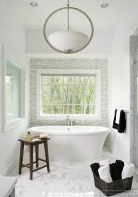 Bathroom with Gray Glass Tile Accent Wall - Contemporary ...