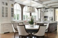White and Brown Kitchen with Coffered Ceiling ...