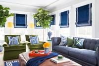 Blue and Green Living Room with Chesterfield Sofa ...