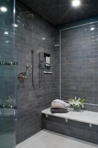 Gray Subway Shower Tiles with White Marble Top Bench ...