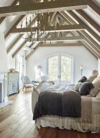 French Bedroom with Truss Ceiling - French - Bedroom