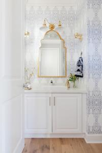 Gray and Gold Powder Room with Eskayel Akimbo 2 Grayscale ...