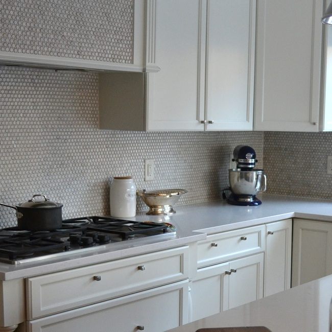 pale gray quartz countertops gray penny tile backsplash white cabinets grey backsplash kitchen subway tile outlet