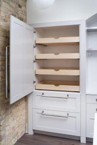 Hidden Pantry with Stacked Pull Out Shelves - Transitional ...