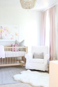White and Pink Nursery with Pink French Pleat Drapes