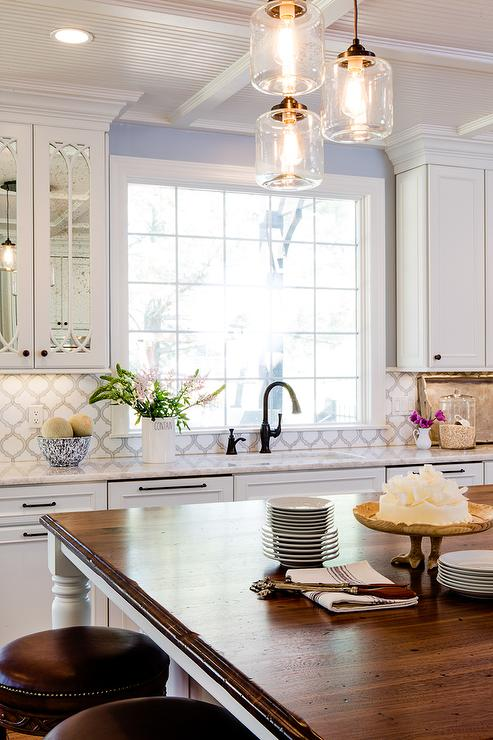 White Over Brown Cabinets Kitchen Iceberg Quartzite Countertops With Artistic Tile Toledo