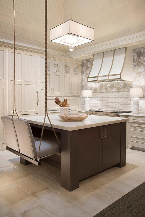 Black Beadboard Wallpaper Brown Kitchen Island With Swinging Rope Stools Cottage