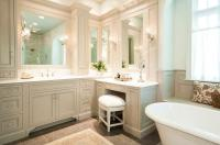Traditional Gray Bathroom with Makeup Vanity - Traditional ...