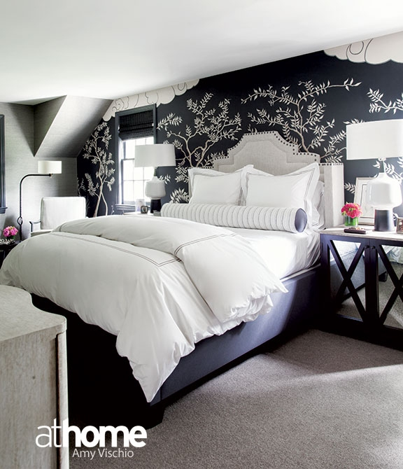 Black And White Bedroom With Gray Headboard Transitional