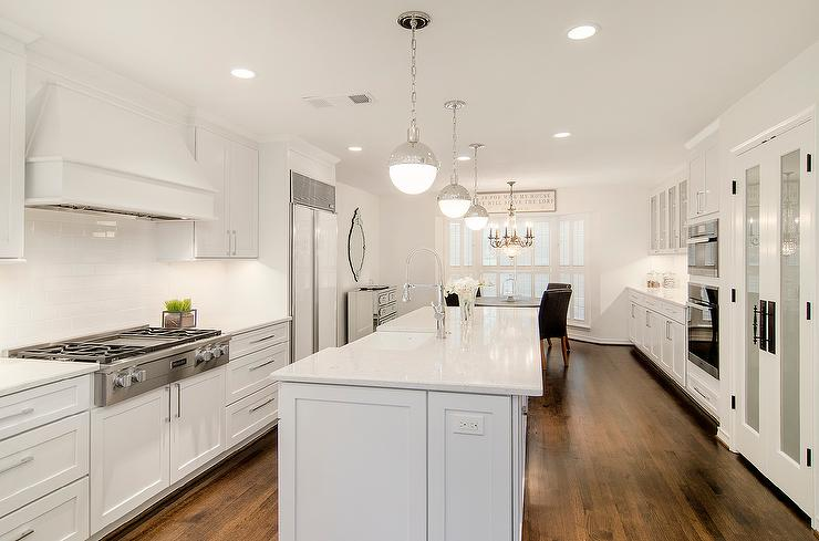 Kitchen Cabinets Long Island Long Kitchen Island With Hudson Valley Lighting Lambert