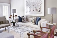 White Sofa with Lucite Cocktail Table - Transitional ...