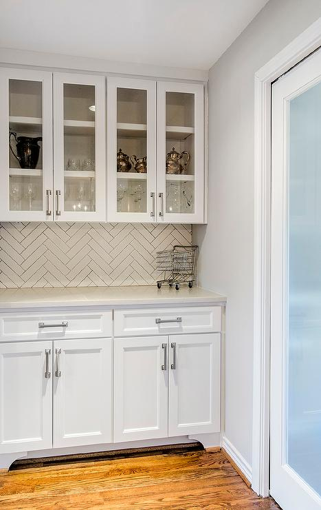 Pics Of Kitchens With Off White Cabinets White Butler Pantry With White Herringbone Tile Backsplash