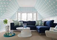 Turquoise and Navy Living Room with Navy Sectional