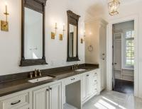 Gray and Gold Bathroom with Restoration Hardware Trumeau ...