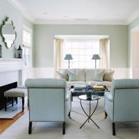 White and blue Living Room with Blue Roll Back Chairs ...