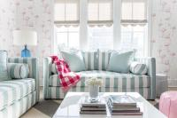 Turquoise Blue and Pink Living Room with Gray Scalloped ...