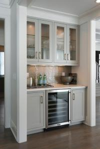Living Room Bar with Gray Cabinets and Glass Front Wine