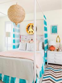 Orange and Turquoise Teen Girl Bedroom with Peace Sign ...