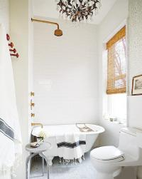White and Gold Bathroom with Gray Turkish Towel ...