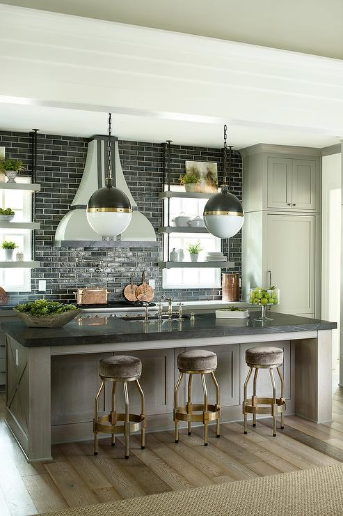Black Brick Wallpaper Taupe Kitchen Island With Brass Counter Stools