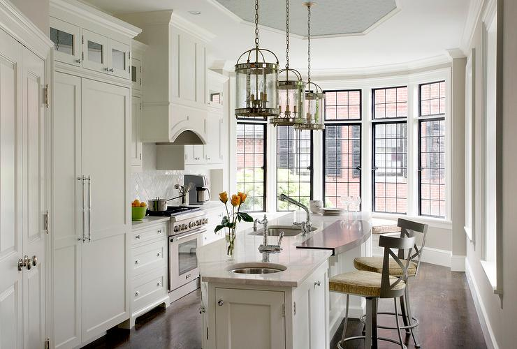 Ideas For Lighting Over Kitchen Island Angled Kitchen Island With Two Sinks - Transitional - Kitchen
