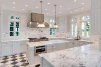 White Kitchen with Black and White Harlequin Tile Floor ...