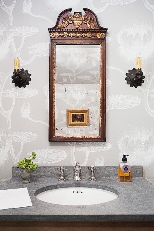Mirror Lighting Bathroom Cole And Son Lily Wallpaper - Transitional - Bathroom