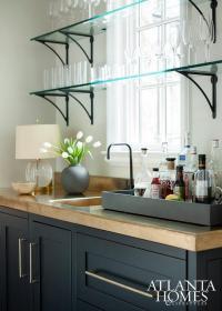 Bar Shelves In Front Of Windows Design Ideas